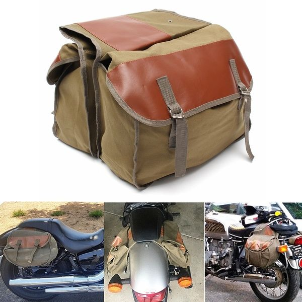 Photo of Army Green Motorcycle Canvas Saddle Bags Equine Back Pack for Haley Sportster Honda | Wish