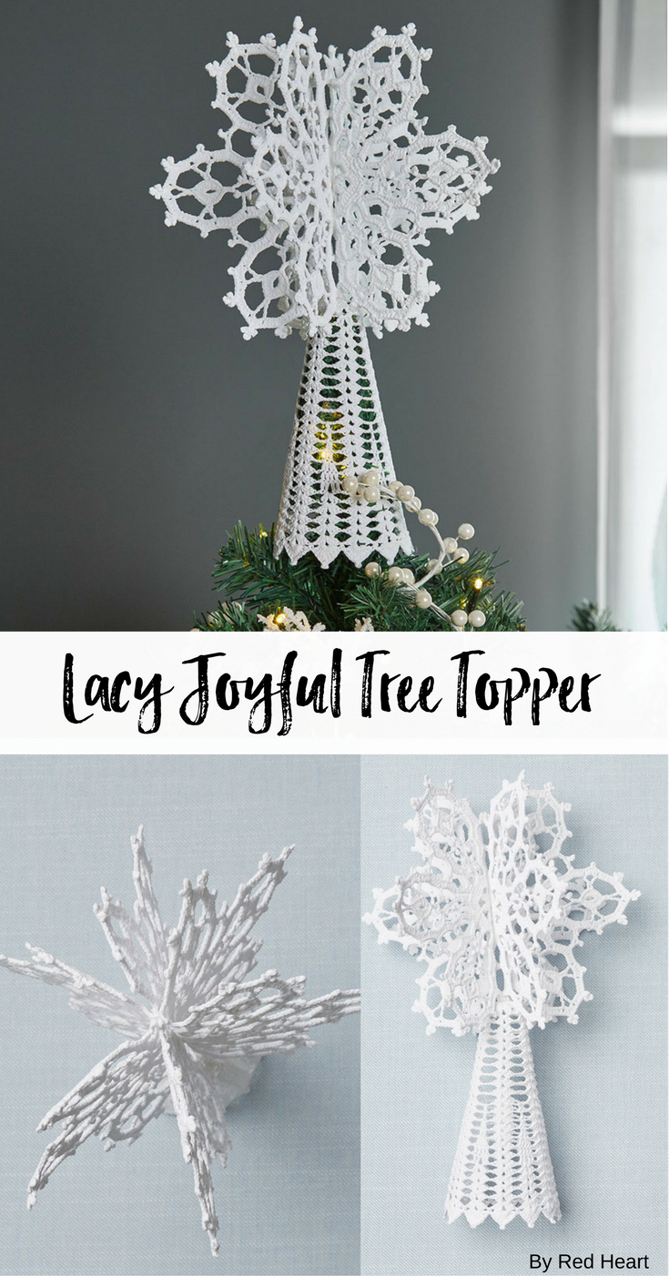 Lacy Joyful Tree Topper Free Crochet Pattern In Aunt Lydia S Crochet Thr Christmas Tree Topper Pattern Christmas Crochet Patterns Crochet Christmas Decorations