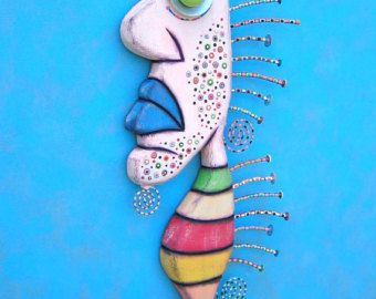 Crazy Clown Fish Found Object Wall Sculpture Wood by FigJamStudio