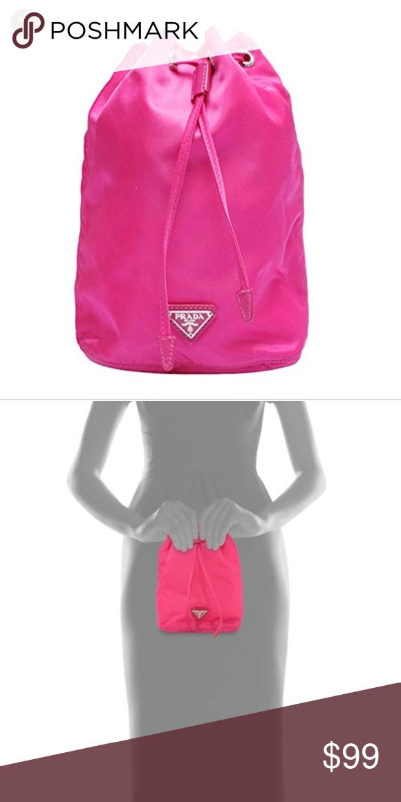0d219cd4dfc2c0 Prada Vela Drawstring Cosmetics Pouch Prada vela nylon bucket bag. Saffiano  trim; steel-