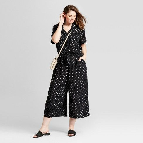 ef710f6437f8 Women s Plus Size Polka Dot Tie Front Jumpsuit - Universal Thread™ Black    Target