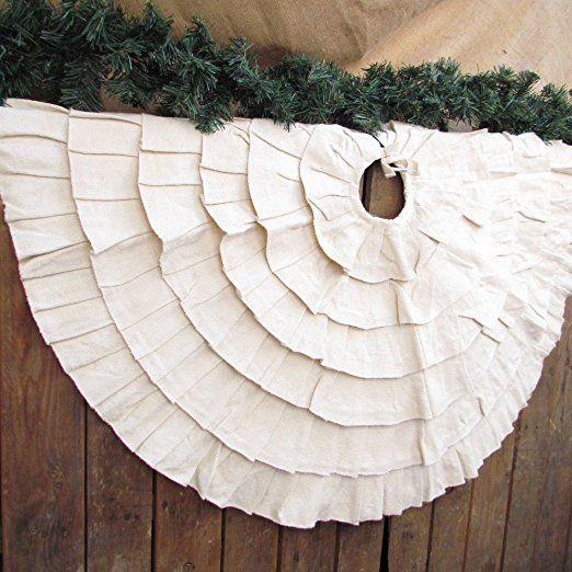 40 inch Ruffled Natural Textured Cotton Christmas Tree Skirt- Farmhouse Christmas