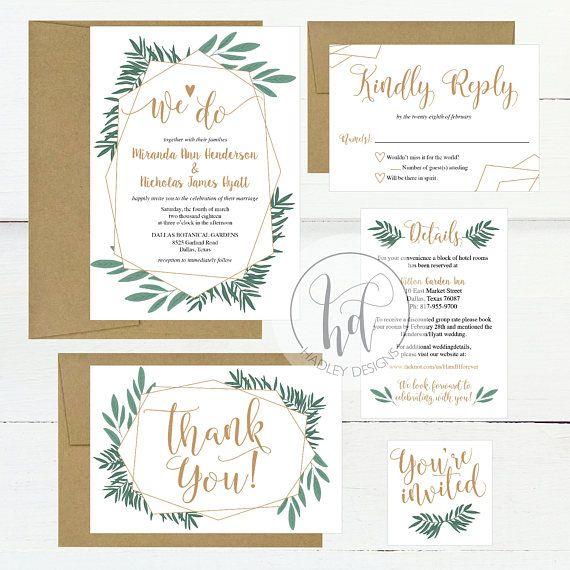 We Do Greenery Garden Wedding Invitation Template Weddings - Garden wedding invitations templates