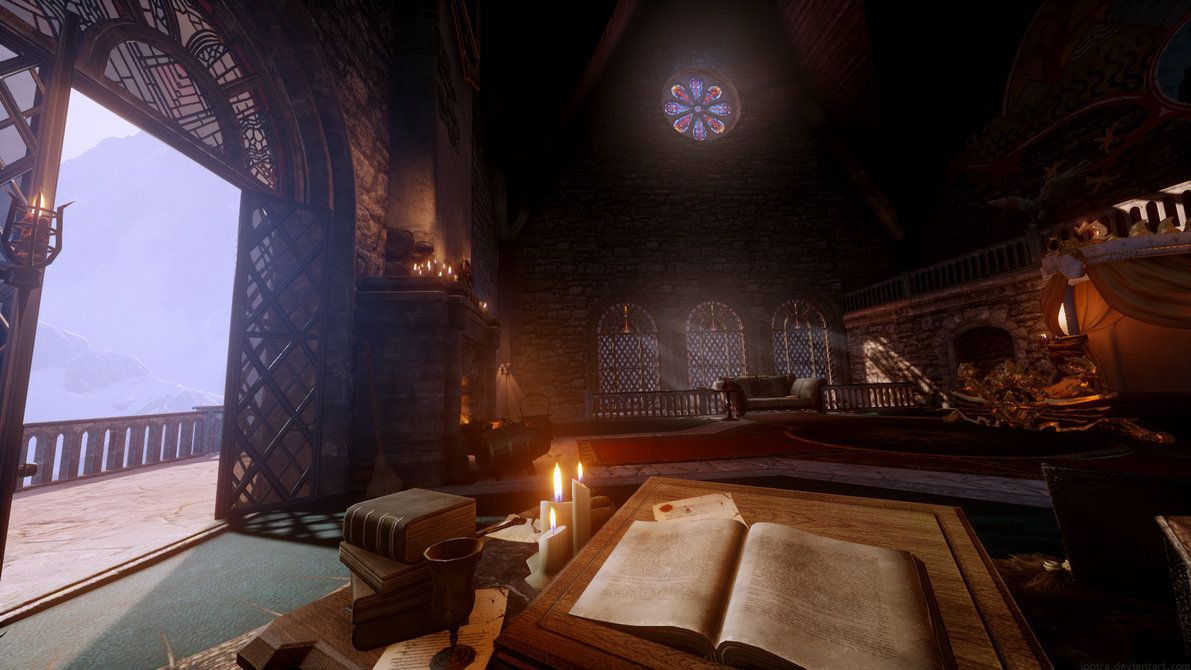 Dragon Age Inquisition Skyhold Scenery Time To Study By Lootra High Res Screen Cap