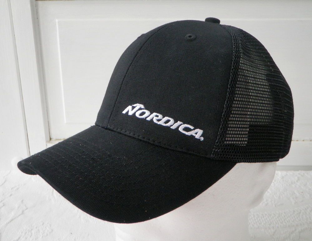 fba6cc6d90a Nordica Black White Mesh Snapback Trucker Hat NWOT Embroidered Logo Skis  Boots  Nordica  TruckerHat  snapback