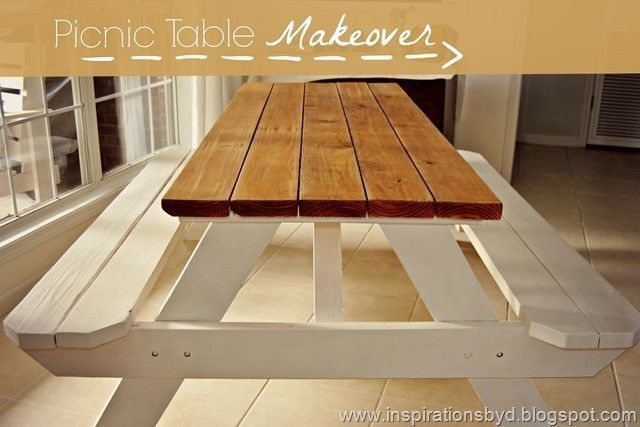 Pleasant Picnic Table Makeover Wooden Picnic Tables Painted Picnic Inzonedesignstudio Interior Chair Design Inzonedesignstudiocom