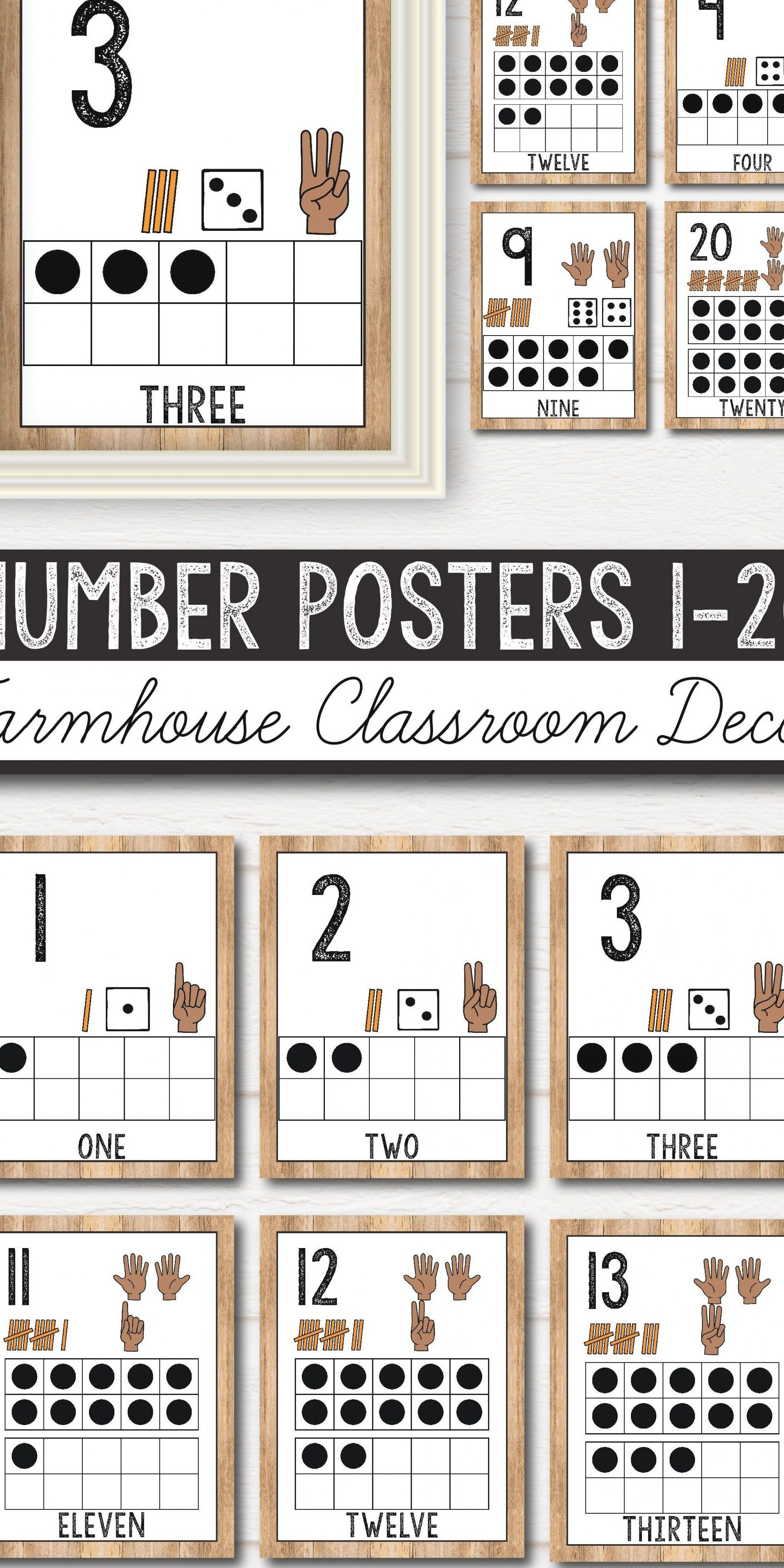 printable number posters with ten frames designed for your kindergarten  pres…