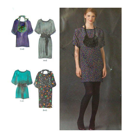Cynthia Rowley Womans Tunic Dress Sewing Pattern - Ruffled Bib necklace, Ruffled Belt, Simplicity 2472 Size 4 6 8 10 12 - Bust 29 - 34 Uncut