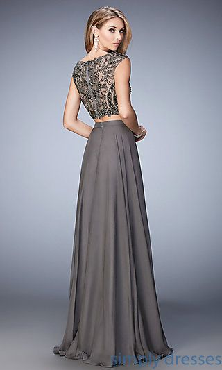 Long Two-Piece High-Neck Gray Formal Gown | Formal dresses, Gray ...