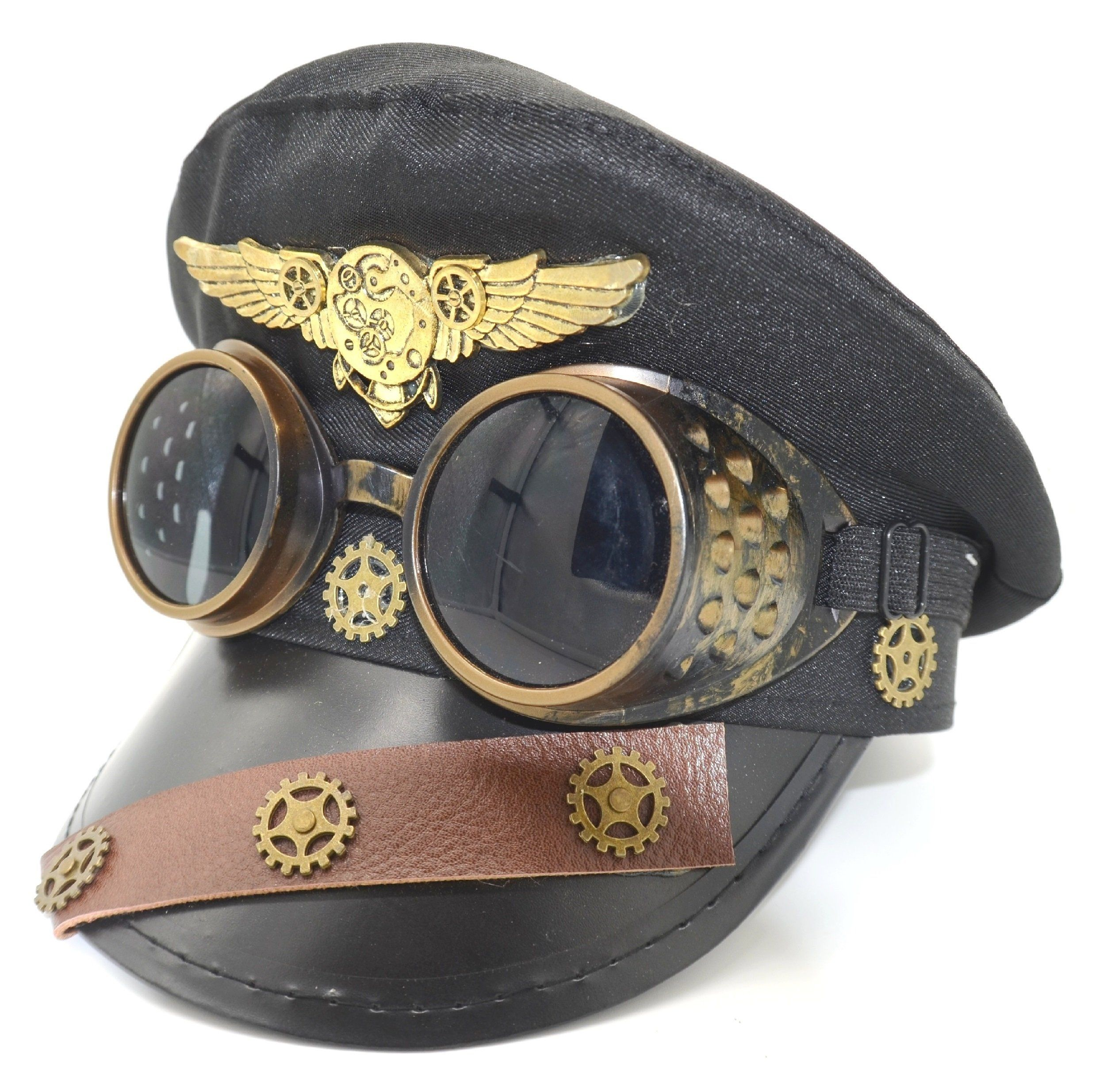 Photo of Steampunk Pilot Aviator Police Captain Hat Handmade Costume Cosplay Party W/ Goggles