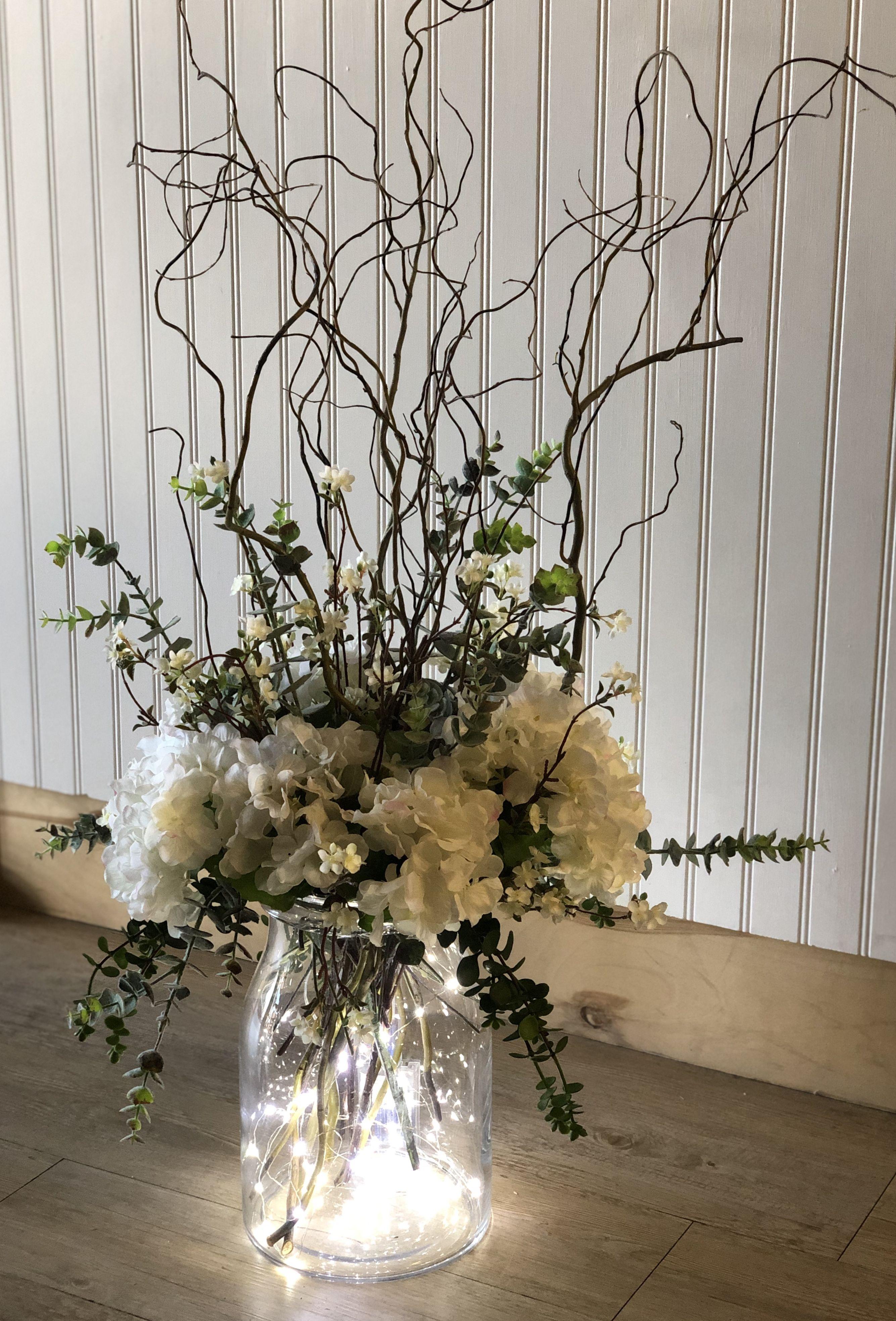 Faux Hydrangeas Wedding Centerpiece In 2020 Hydrangea Centerpiece Wedding Hydrangeas Wedding Curly Willow Centerpieces
