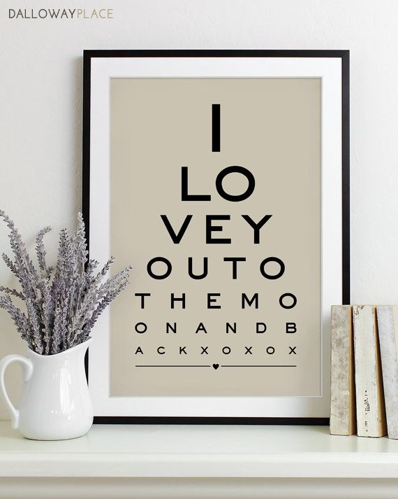 Wall Art Print Eye Chart Anniversary Gift Wedding Shower Quote Typography Poster Decor To The Moon And Back