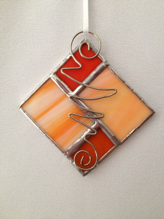 Stained Glass Ornament - Orange Square Stained glass Pinterest