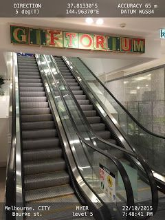 Conspicuous Signage attract customers to travel up a floor   Escalators Gifts Melbourne Retail