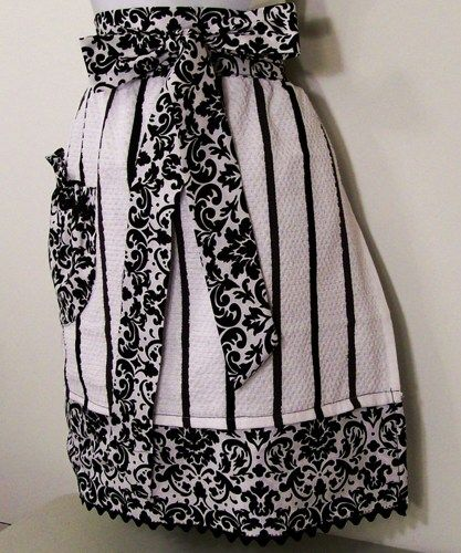 Women's and Teens Towel Half Apron with wrap ties-Black Stripe Apron | barbscrochethut - Housewares on ArtFire