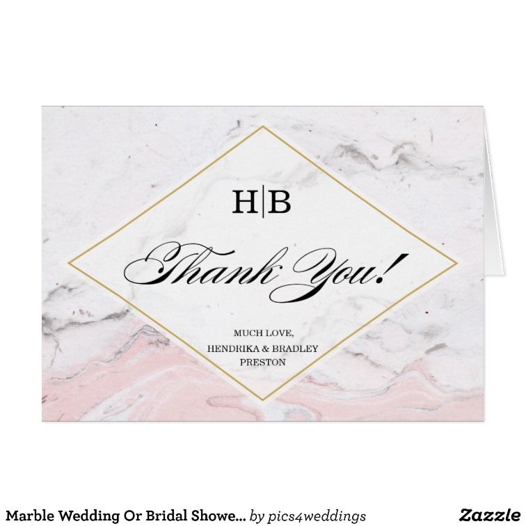 marble wedding or bridal shower thank you cards
