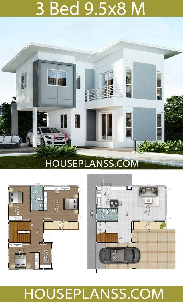 House Design Plans Idea 9 5x8 With 3 Bedrooms Home Ideassearch House Plans Modern House Plans Home Design Plans
