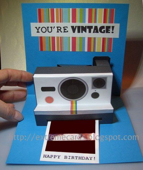 Polaroid Camera Pop Up Birthday Card (with printable template - polaroid template