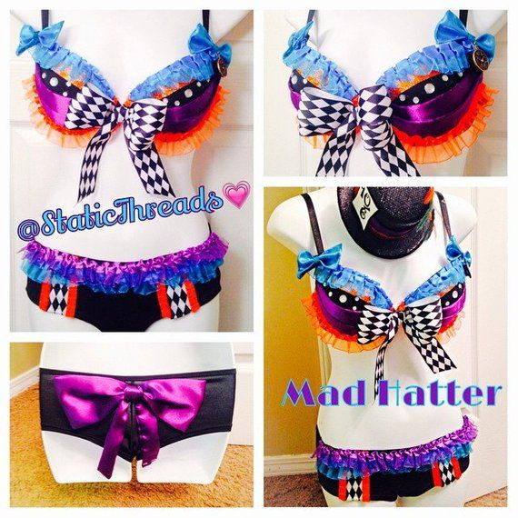 Beyond The Fringe Mini Hat Pins: Mad Hatter Costume- Rave Bra And Bottoms With Mini Mad