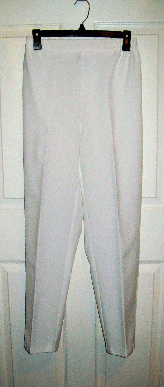 Vintage Ladies White Pants Slacks Elastic Back Waist by Monterey Canyon Size 8 Only 8 USD