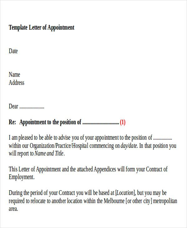 sample business appointment letters letter doc consultant Home - sample letter of appointment