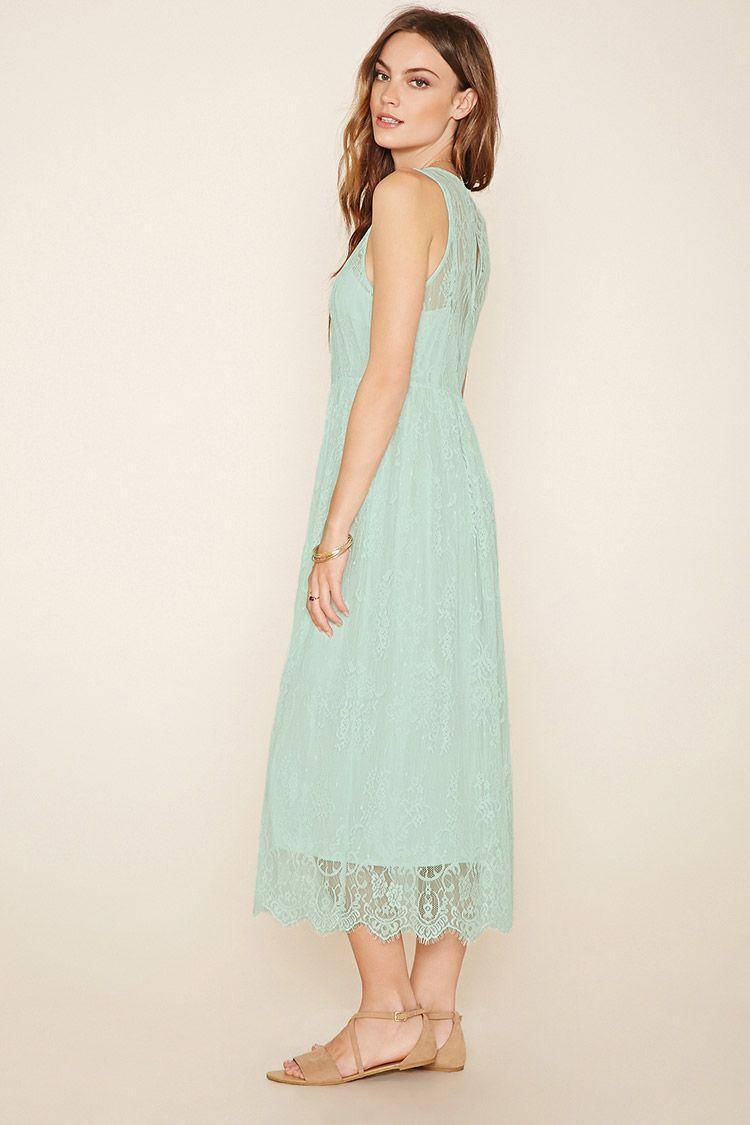 H&m green lace dress  A sleeveless knit eyelash lace midi dress with a round neckline a
