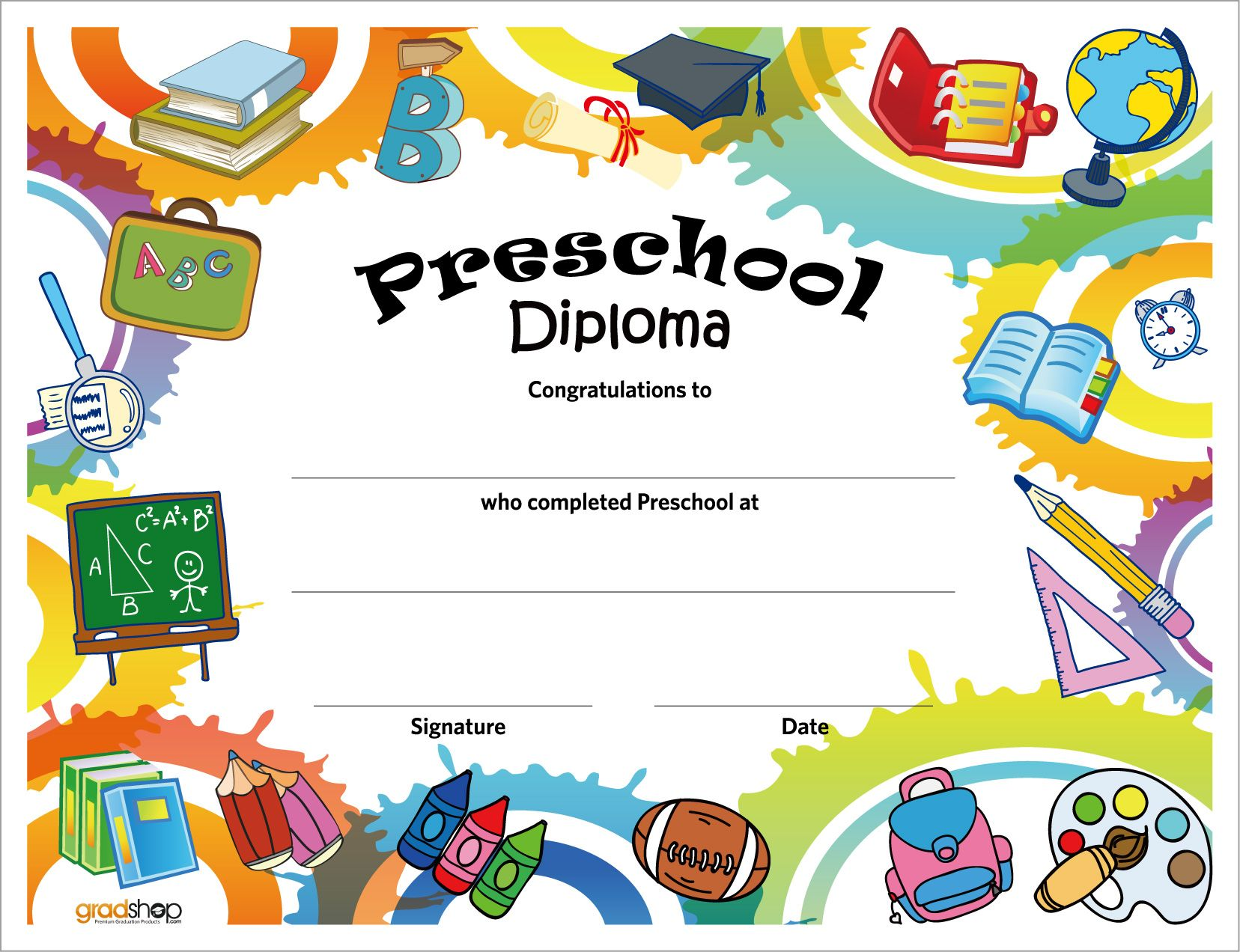 Printable preschool diploma work infants prek pinterest free printable preschool diplomas graduation yadclub Image collections
