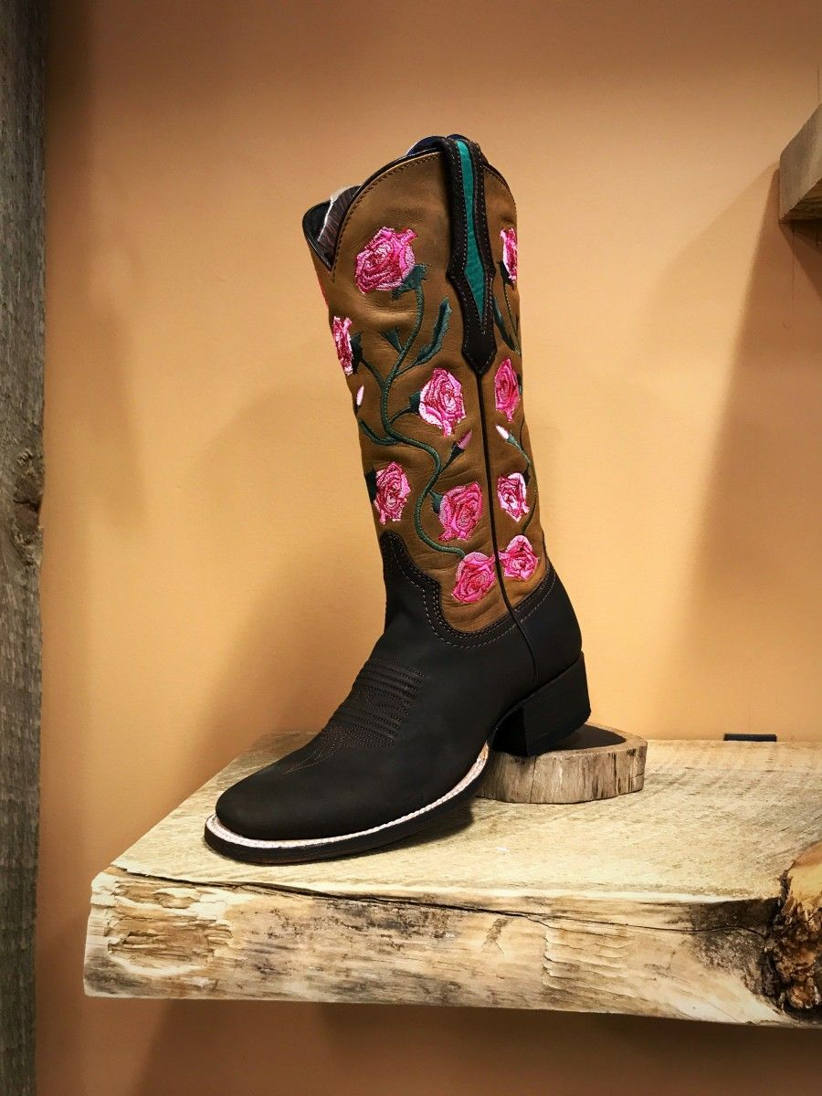 3be1d9c303b CABORCA - Women's Floral Square Toe Boots ( Chocolate Brown ) in ...