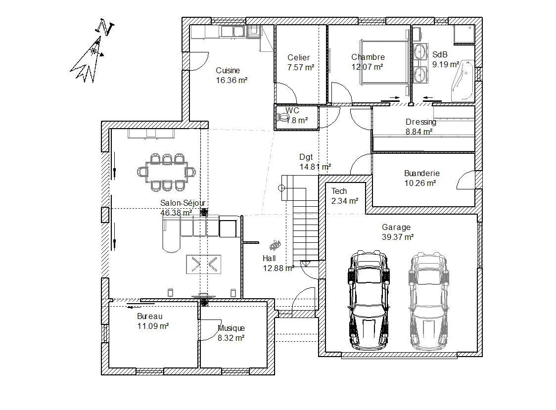 plan de maison le masson