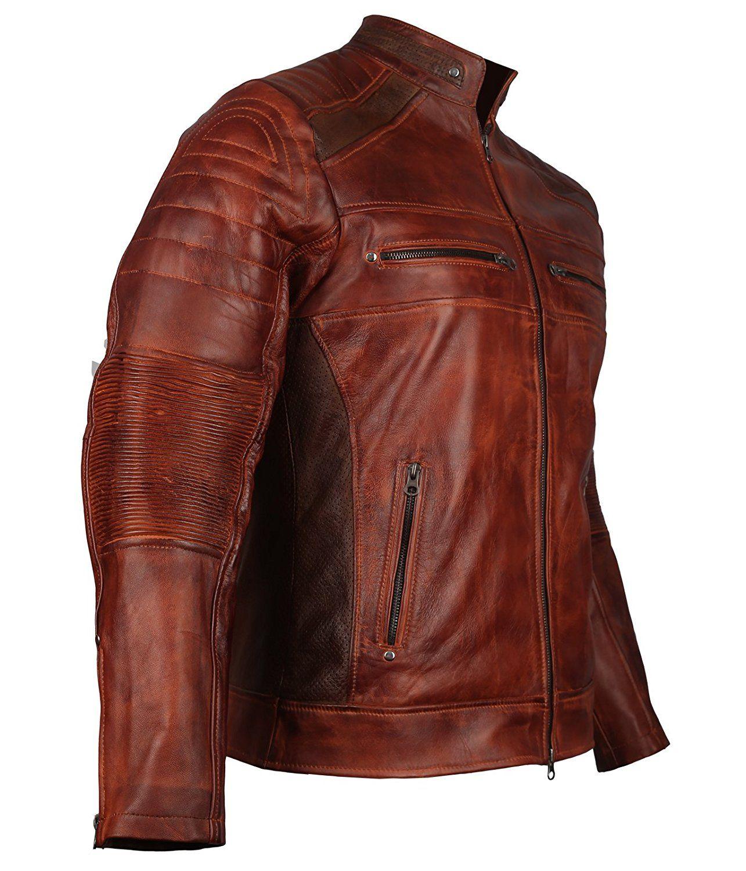 men's vintage cafe racer brown biker leather jacket at amazon