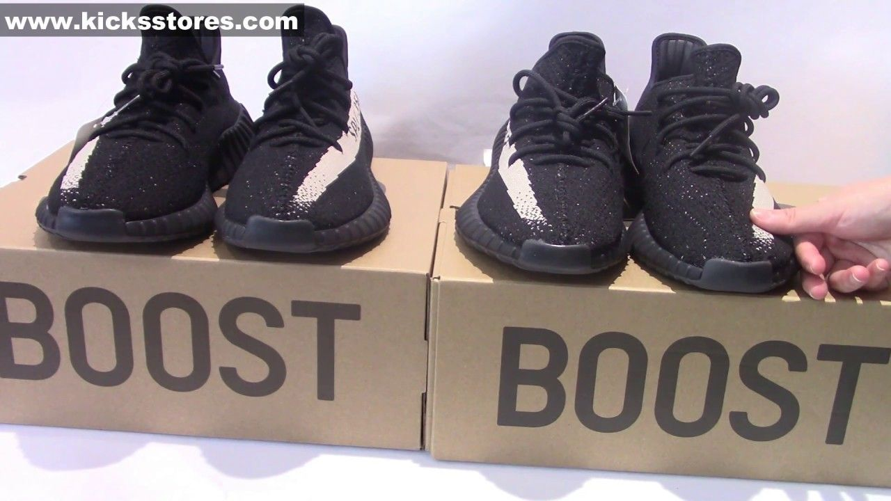 495e30d85 Authentic Vs Best Replica Yeezy Boost 350 V2 Black White Supreme Review .