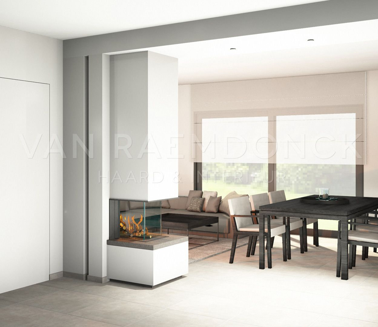 Room Divider gashaard tussen living en keuken. | Haard | Pinterest