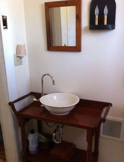 Inesu0027s DIY Vintage Vessel Bathroom Sink