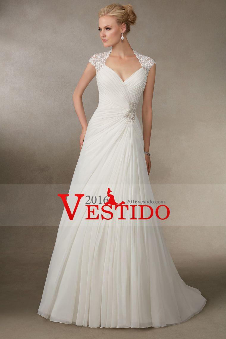 2016 vestidos de boda de las mangas casquillo de una línea acanalada ...