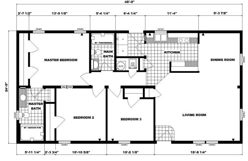 24 x 48 floor plans 24 x 48 approx 1152 sq ft 3 bedrooms for Floor plans 50 feet wide