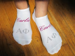 Personalized Alpha Phi socks... yes, please!
