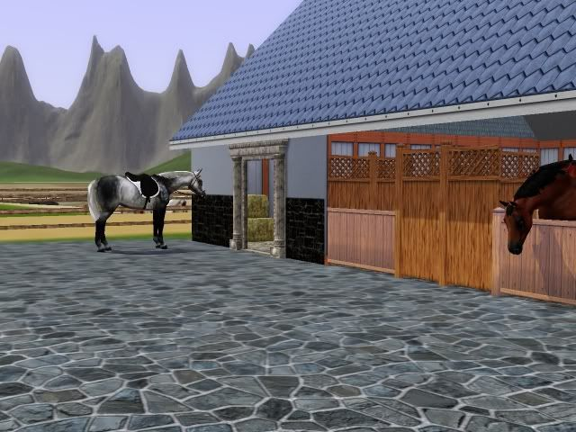 Sims 3 Horses Jumping | Thereu0027s The Stable Block With A Horse Tacked Up  Outside