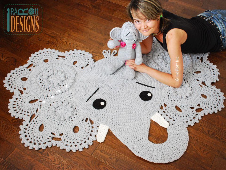 Josefina and Jeffery Elephant Rug PDF Crochet Pattern | Elefantes ...