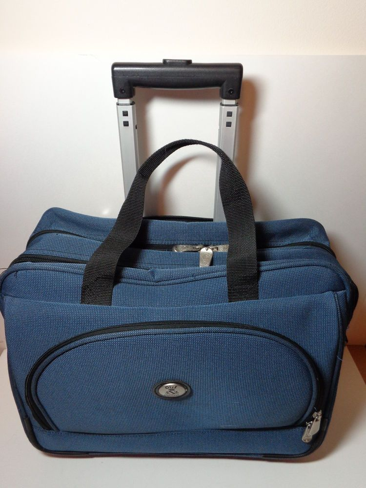 0c71f7586c Oleg Cassini Roller Carry On Weekender Computer Luggage Blue Travel Bag EUC   OlegCassini