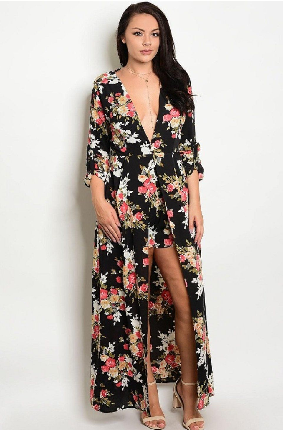 362564eaafb Plus Size High-low Printed Romper