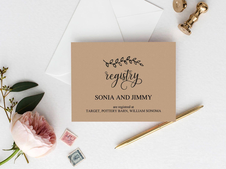 Wedding Registry Cards Printable Wedding Gift Registry