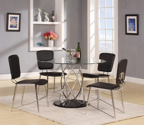 Features: Contemporary Chrome And Glass Design Modern Chairs Black Lacquer  Base Round Table Top Dining Table X X Dining Chair 16 X 22 X 37