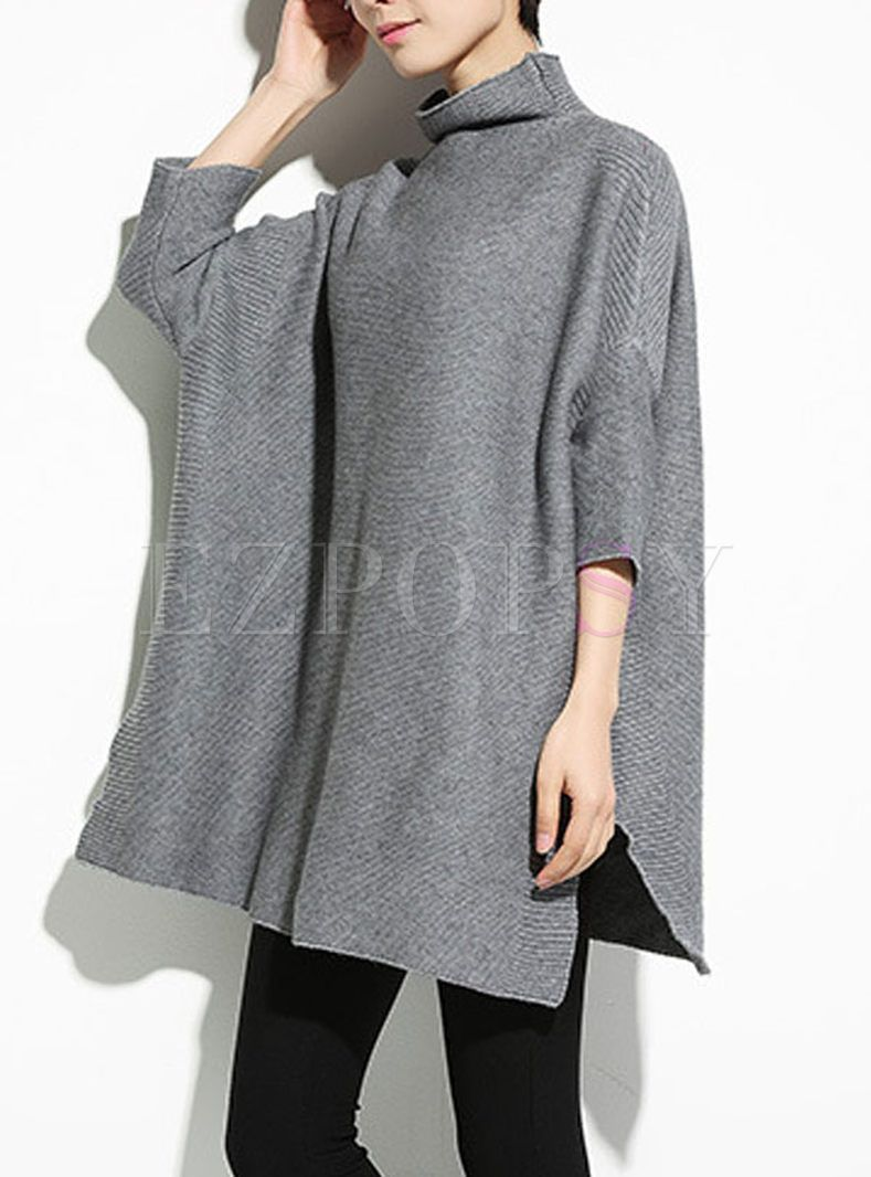 Shop for high quality Loose High Neck Bat Sleeve Pullover Sweater online at cheap prices and discover fashion at Ezpopsy.com