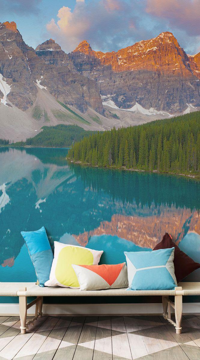 Reflective Mountains Wallpaper Mural Landscape wallpaper