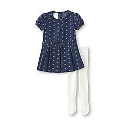 88c90e6bd Small Wonders Newborn Girl s Chambray Dress   Tights - Floral ...