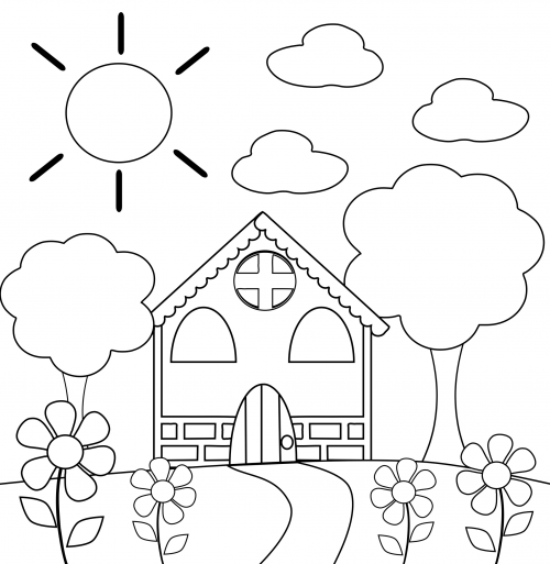 Coloring Printables For Kindergarten : Preschool coloring page house felt patterns felting