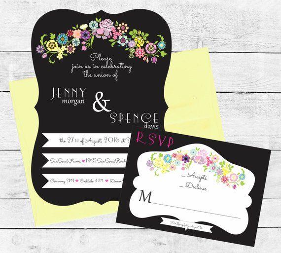 Flower Garland Chalkboard Wedding Invitation Suite / Graphite Yellow Invitation / Basketweave Invitation