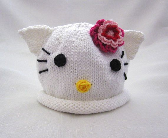 Boston Beanies Hello Kitty Hat Pink Flower Knit by BostonBeanies, $30.00