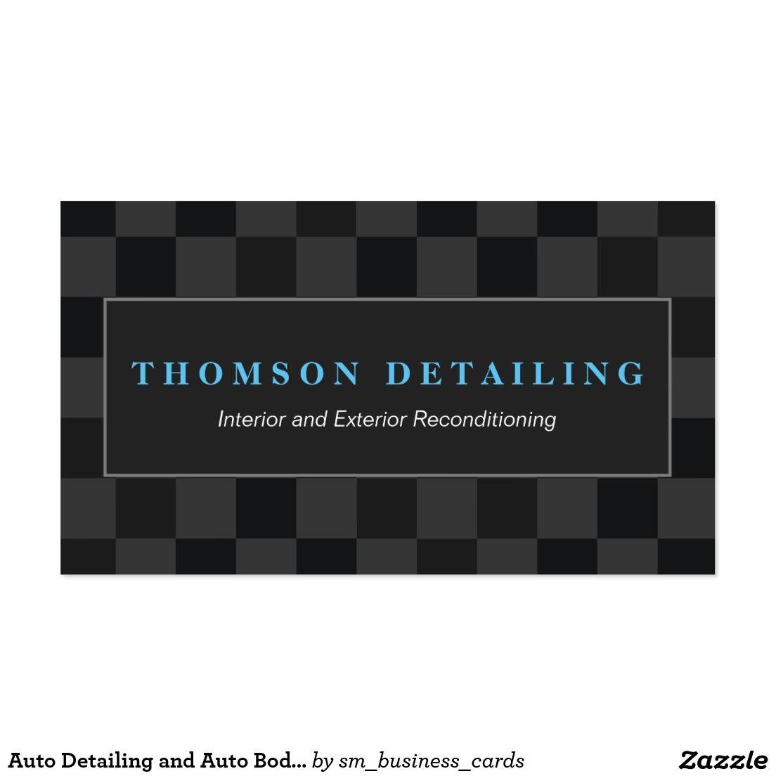 Retro Auto Detailing & Auto Body Repair Checkered Business Card ...