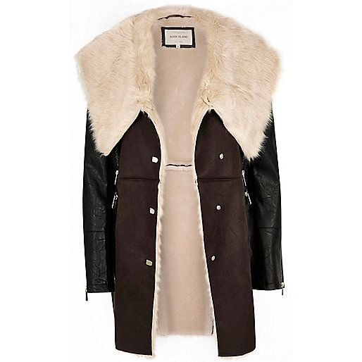 Manteau marron foncé en fausse peau de mouton | Capispalla Inverno ...